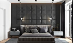 dangling-camera-lights-striped-covers-gray-accent-wall