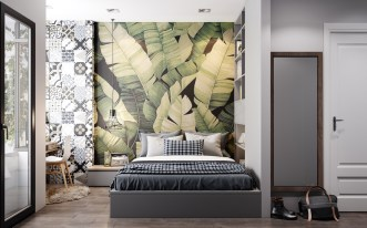 leaf-tropical-bedroom-wallpaper-accent-wall
