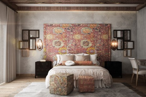 square-ottomans-many-mirrors-rustic-ethnic-accent-wall