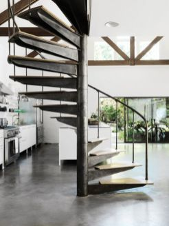 Industrial-kitchen-with-spiral-staircase