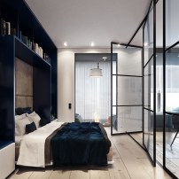 Small-Modern-Blue-Bedroom-With-Navy-Blue-Shelving-And-Throw-Blanket