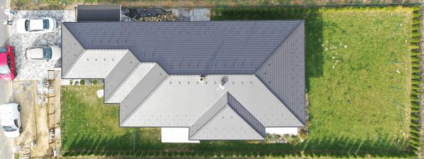 Szombathely típusterv tetőszerkezetének drón fotója