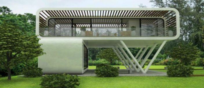 Könnyűszerkezetes moduláris ház 2 előregyártott elemből építve