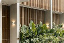 Photo of Rácsos fa árnyékolók fedik a mexikói luxusszálloda beton homlokzatát