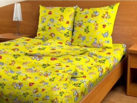 Купить оптом ткань бязь детская от производителя 3030 Веселые зайчата желтые