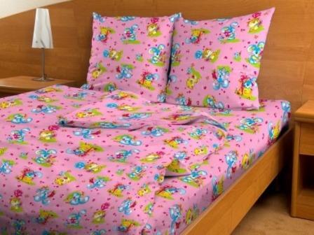 Купить оптом ткань бязь детская от производителя 3708 Игрушки розовые