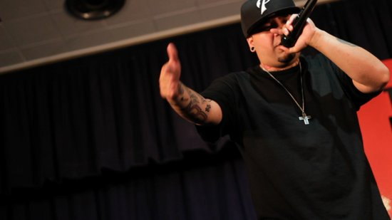 LP, or Livin' Proof, performs at The Body Church.