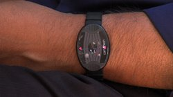 A Fitbit-like device that measures movement and the amount of light the wearer is exposed to.