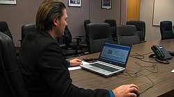 Almis Udrys, San Diego's director of performance and analytics, demonstrates the open data website DataSD.org, Feb. 25, 2016.