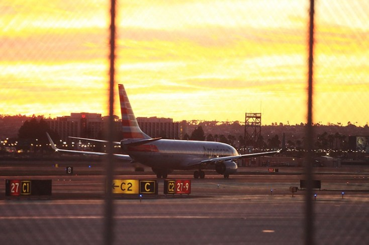 The San Diego International Airport is shown at sunset in this 2015 file photo.