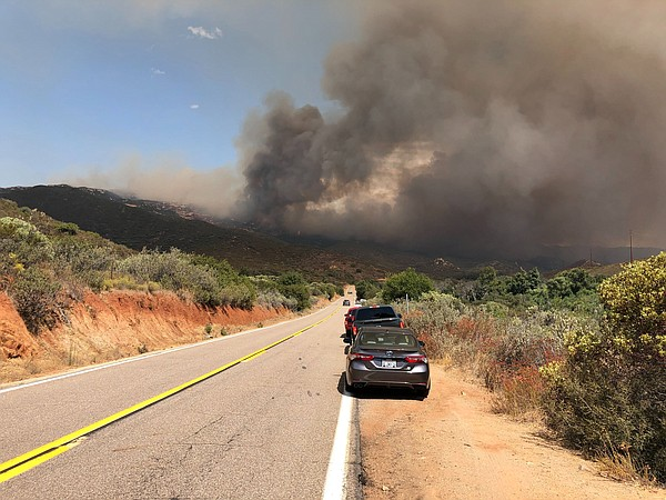 Smoke plumes from the Valley Fire viewed from Japatul Roa...