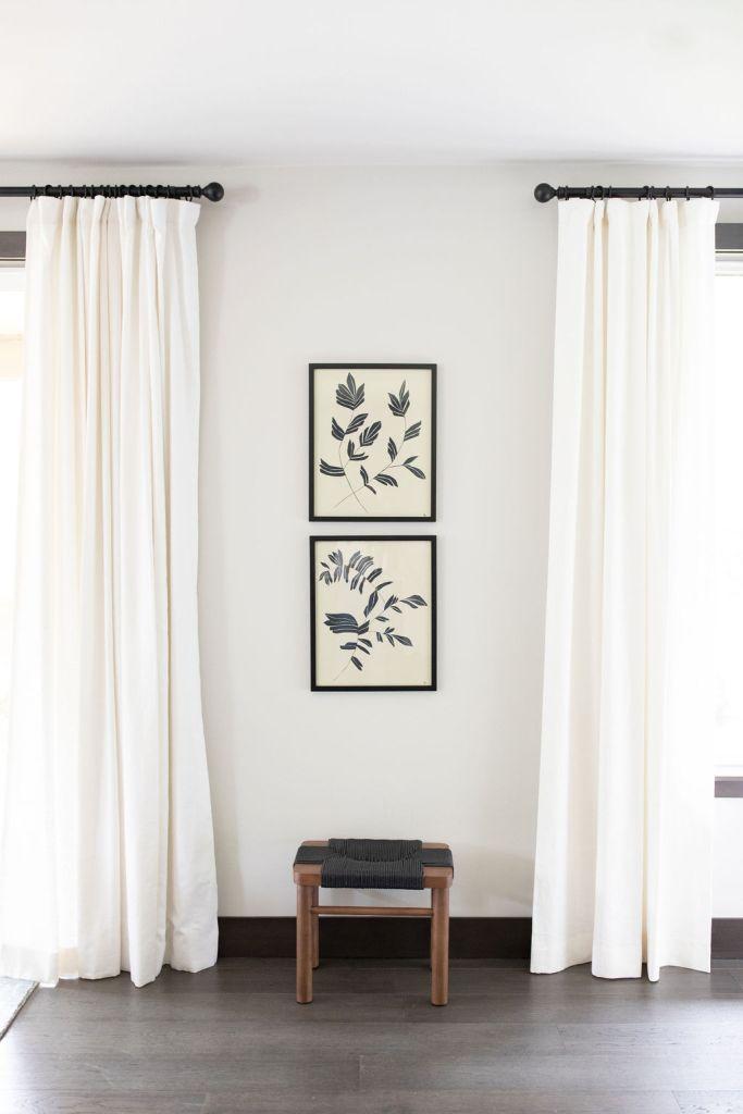 white drapes and juniper prints