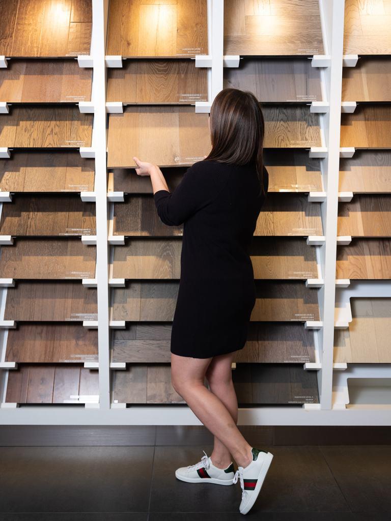 Flooring selection at Tri Pointe Homes Design Studio