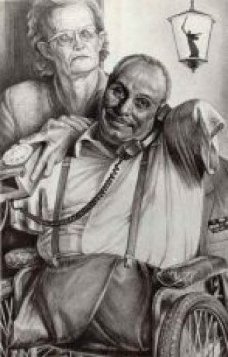 A black and white drawing of a man without an arm and both legs.  He sits in a wheelchair holding a phone to his ear.  An older woman stands behind him with her hand on his shoulder.