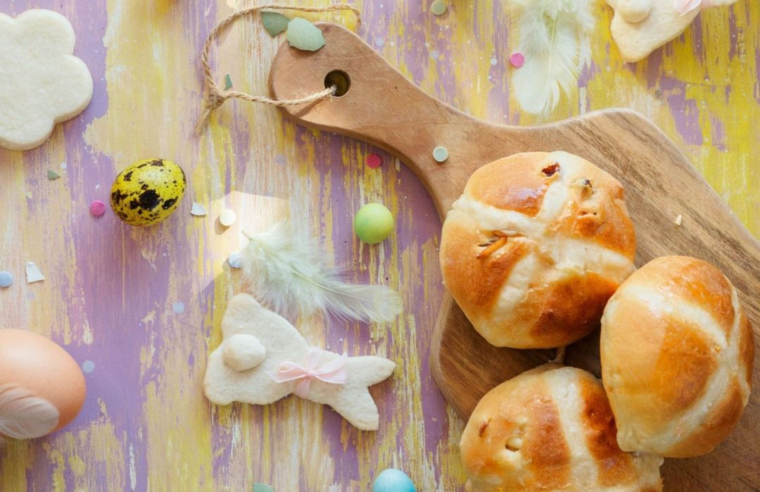 easter display of hot cross buns copy
