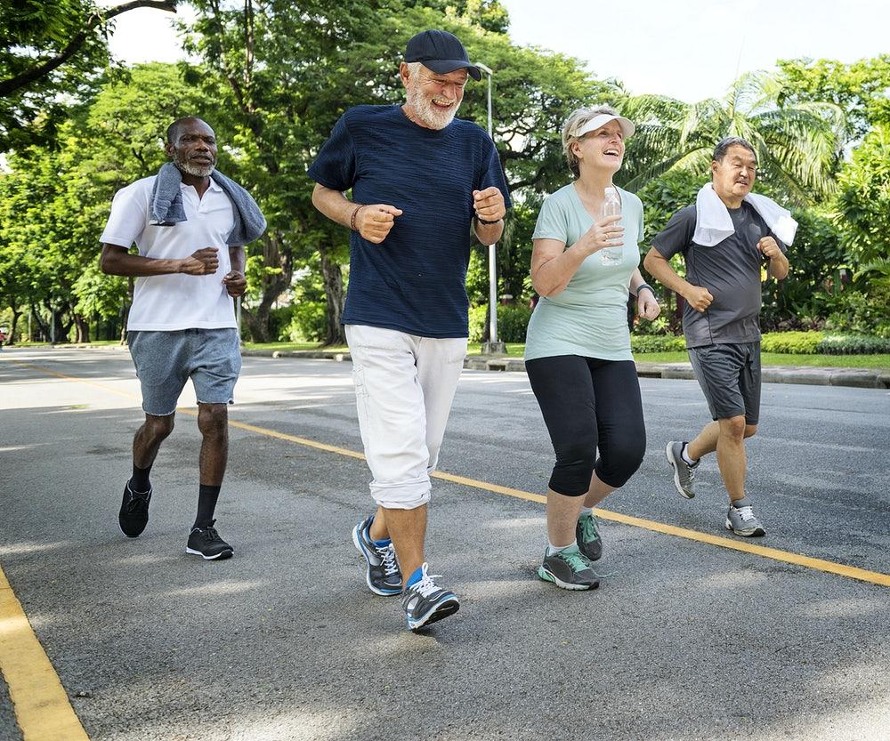 Group of senior friends enjoying a run