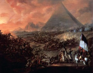 Painting by Francois Louis Joseph Watteau of Battle of the Pyramids