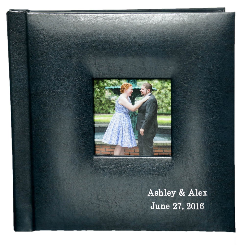 8×8 Album: – Leatherette cover in Navy – 2 inscription lines – Cameo cutout in center