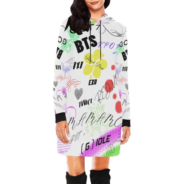 KPOP Band Print Hoodie Mini Dress