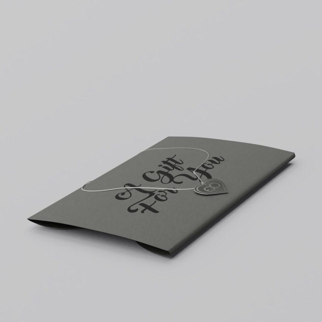 Engraved EXO Logo Silver Heart Charm Necklace