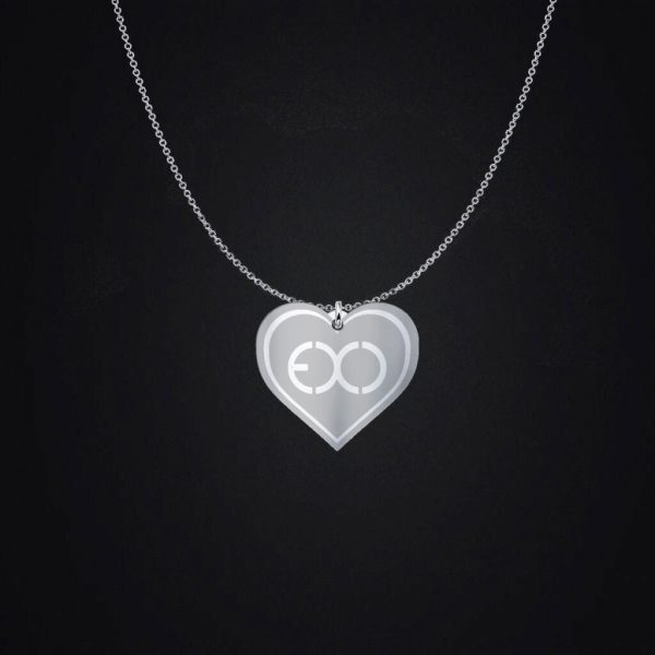 Engraved EXO Logo Silver Heart Charm Necklace