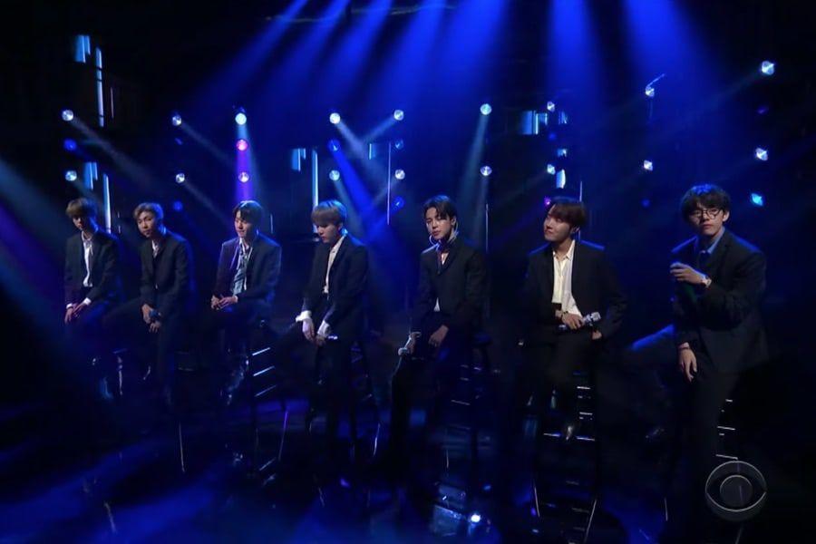 """فرقة BTS تسحر المشاهدين بأدائها """"Make It Right"""" في برنامج """"The Late Show With Stephen Colbert"""""""