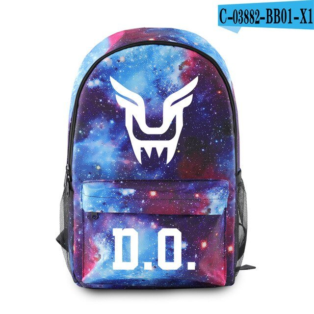 Kpop EXO Printing Bag Backpack Harajuku Hip Hop Teenager School Cool Bags Starry Sky Kpop EXO Fans Support Canvas Travel Bags
