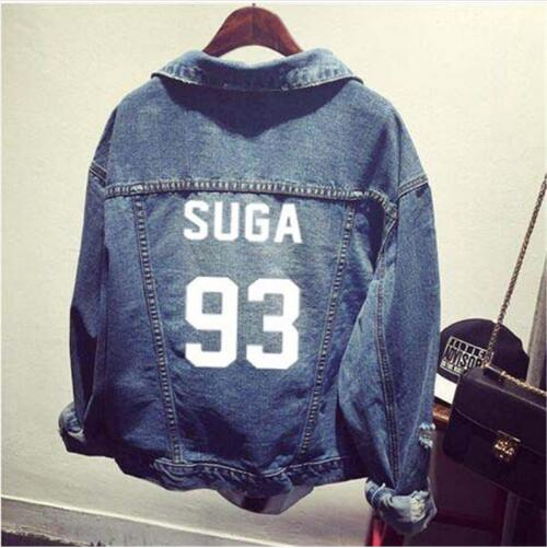 kpop EXO GOT7 jin suga clothes Shirt denim jacket hole coat female Baseball k-pop uniform Hoodie Outerwears tops Sweatshirts