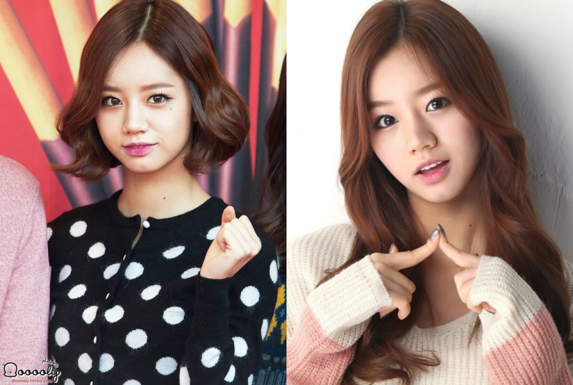 kpop girl group Hyeri's long vs short hair kpop idol haircut inspirations