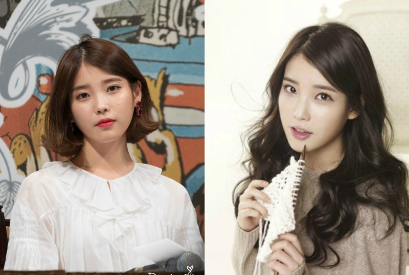 kpop idol kdrama actress IU kpop idol haircut transformations korean stars short vs long haircuts