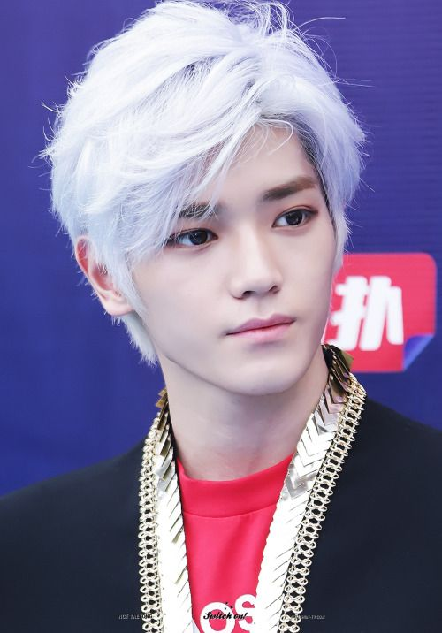 korea korean kpop idol boy band group nct NCT-u NCT-127 taeyong anime inspired white dyed hairstyles for guys kpopstuff