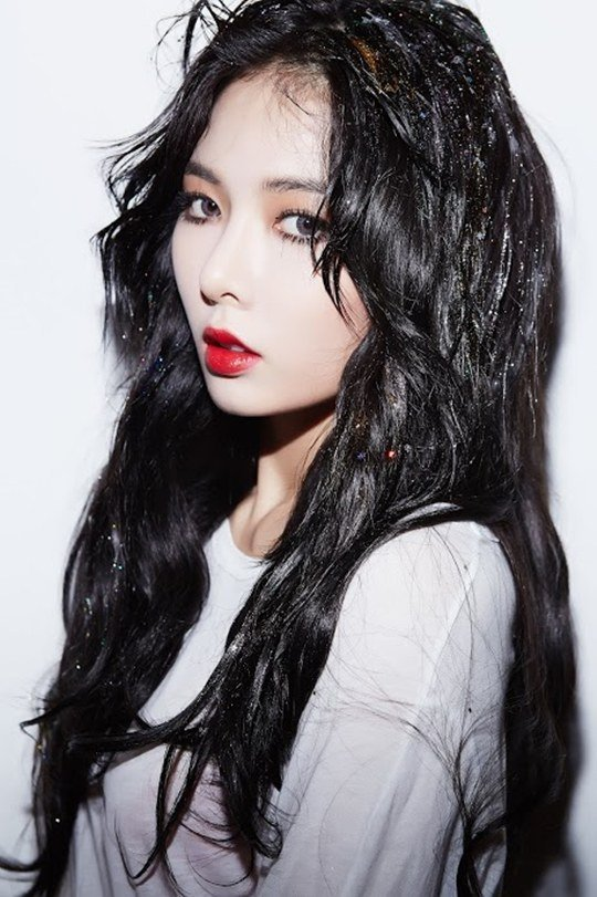 Korean Kpop Girl Group 4minute Hyuna Red Promotions Black Hairstyles