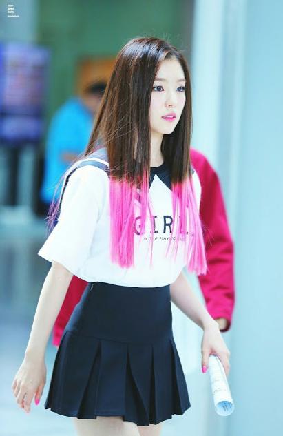 korea korean kpop idol girl group band red velvet irene's two-tone hair happiness pink hair color hairstyles for girls kpopstuff straight