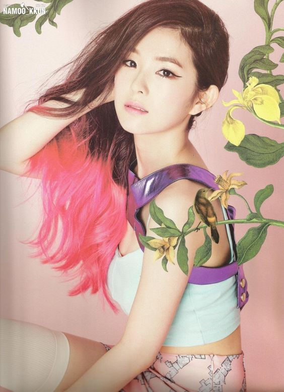 korea korean kpop idol girl group band red velvet irene's two-tone hair happiness pink hair color hairstyles for girls kpopstuff wavy photoshoot