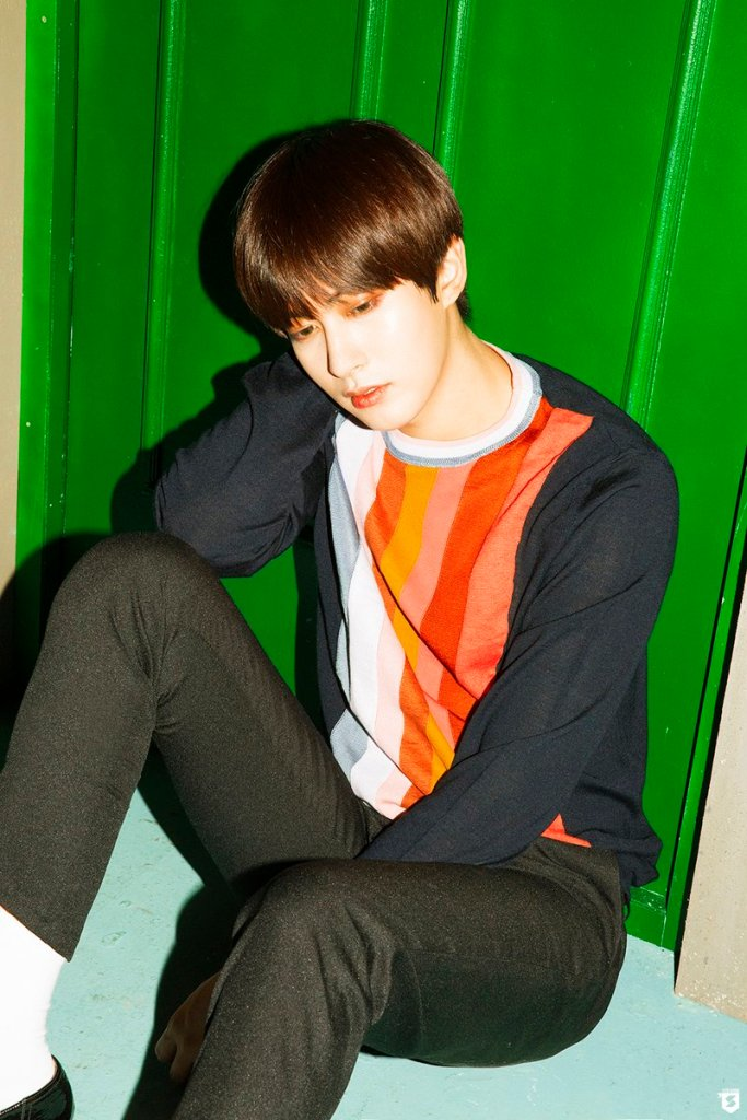 korea korean kpop idol boy band group block b yesterday retro kitsch fashion jaehyo sweater paired with black outift styles for guys kpopstuff