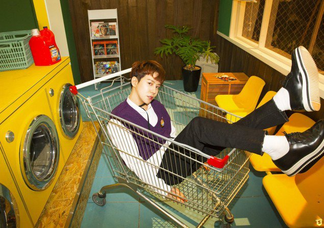 korea korean kpop idol boy band group block b yesterday retro kitsch fashion park kyung purple sweater styles outfit for guys kpopstuff