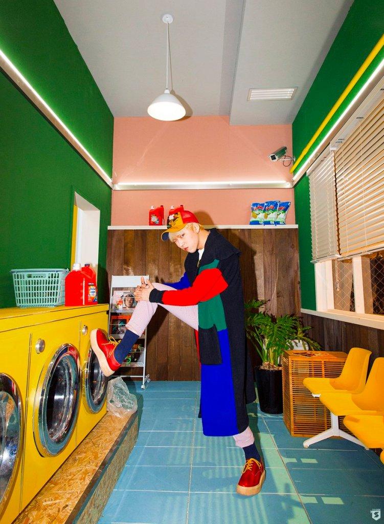 korea korean kpop idol boy band group block b yesterday retro kitsch fashion zico colorful jacket clogs outfit style for guys kpopstuff