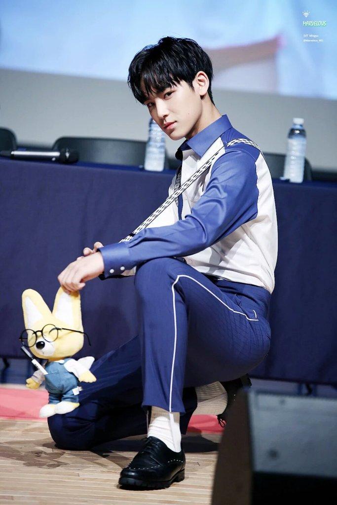 korea korean kpop idol boy band group seventeen's suspenders fashion mingyu blue very nice era suit suspender styles outfit looks for guys kpopstuff