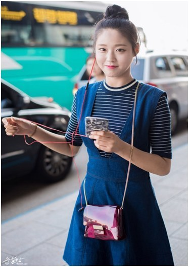korea korean kpop idol girl band group aoa seolhyun's dress fashion jean blue denim skirt dresses outfits style for girls kpopstuff
