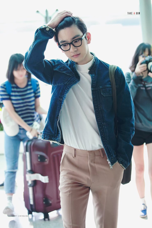 korea korean kpop idol kdrama actor got7 jinyoung's classy fashion dress pants denim jacket outfit style for guys kpopstuff