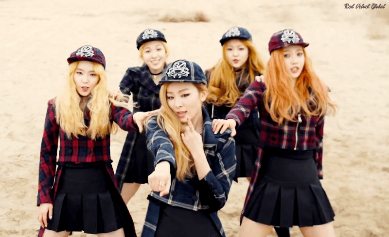Korea Korean kpop idol girl group band red velvet's ice cream cake hairstyles preppy hipster hat style checkered uniform fashion hairstyle for girls kpopstuff