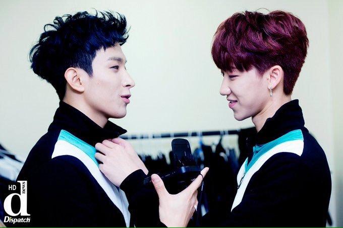 korea korean kpop idol boy band group seventeen the8's cherry tinted hair color minghao dk going seventeen showcase red hairstyles for guys kpopstuff main