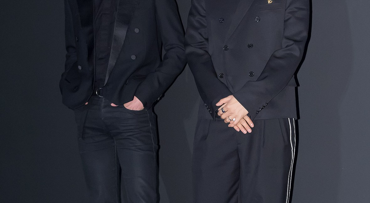 korea korean kpop idol boy band group winner mino and seungyoon at saint laurent chic looks for modern black formal fashion style looks for guys