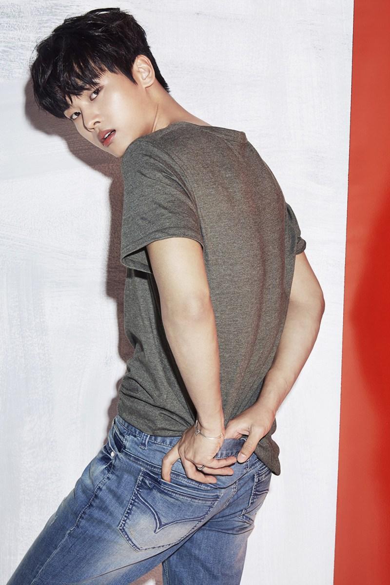 korea korean kpop idol boy band group vixx denim jean fashion n hakyeon jambangee photoshoot summer spring outfits style guys men kpopstuff