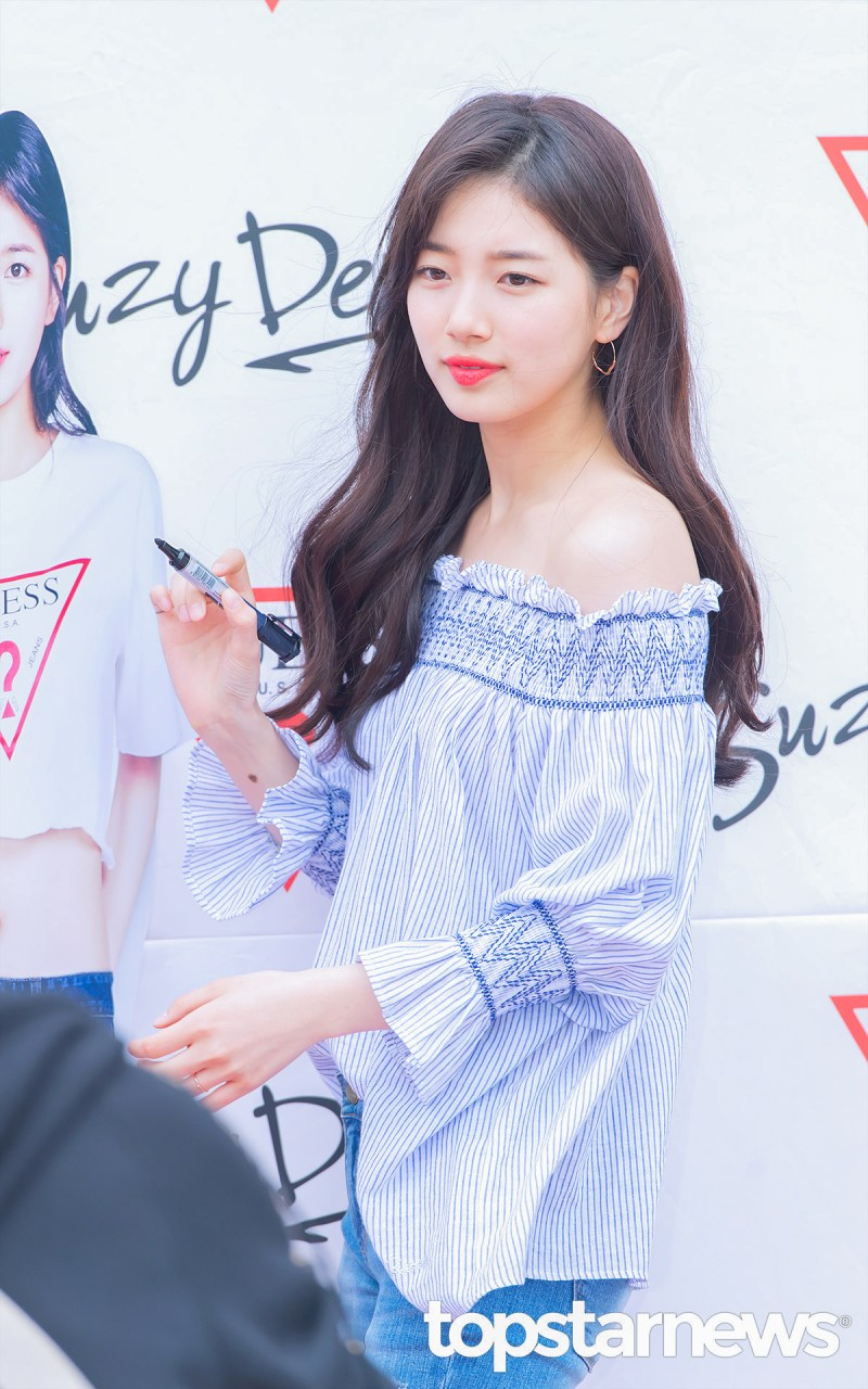 korea korean kpop idol girl group band miss a suzy's spring outfit for guess event look blue off the shoulder top casual fashion style girls women kpopstuff