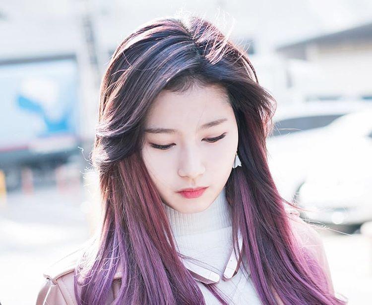 korea korean kpop idol girl group band twice sana's purple hair violet hair dye color hairstyles girls kpopstuff