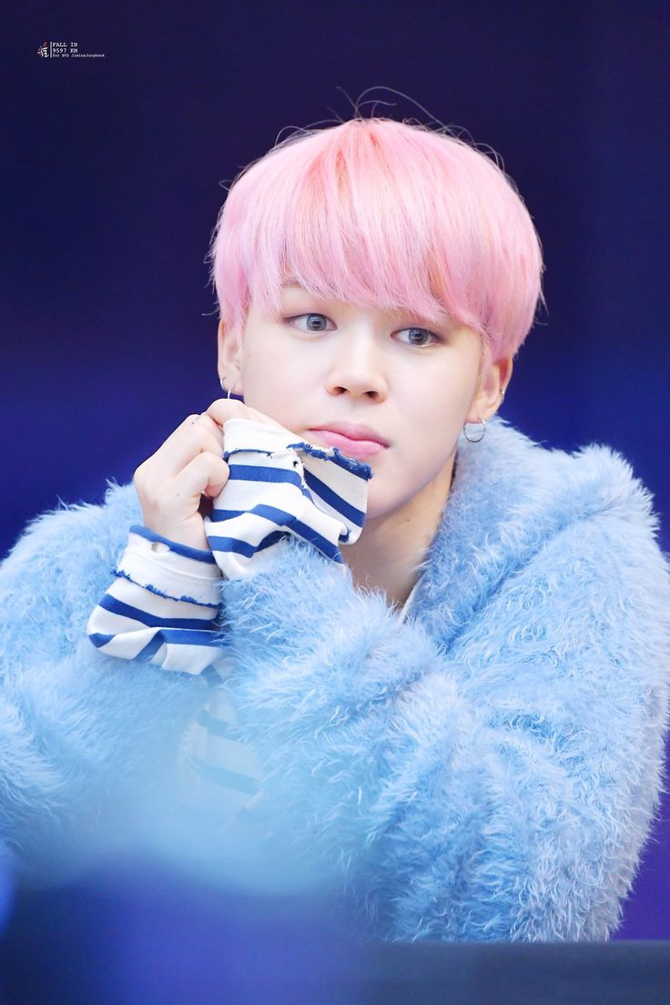 korea korean kpop idol boy band group bts jimin's pink hair new hairstyle you never walk alone fanmeeting straight cotton candy for guys boys kpopstuff