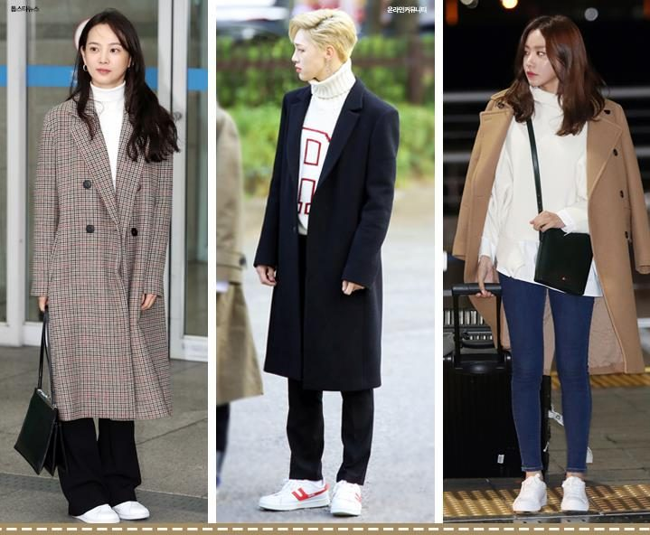 korea korean kpop idol band group kdrama actress yoon seung ah jbj kwon hyun bin kim ah joong long coat turtleneck knit sweater idol winter outfit fashion airport kpopstuff