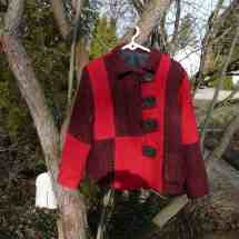 jacket pieced red, black 16.50a