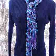 scarf hand knit blue purple beaded 15.38